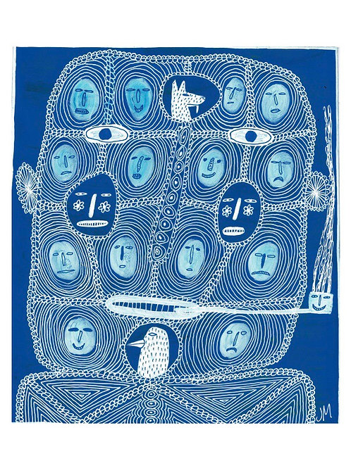 Head With Heads.  A3 Giclee Print.
