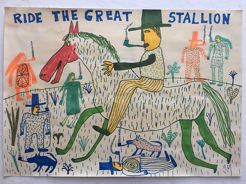 Ride The Great Stallion. 23.5 x 16.5 inches.