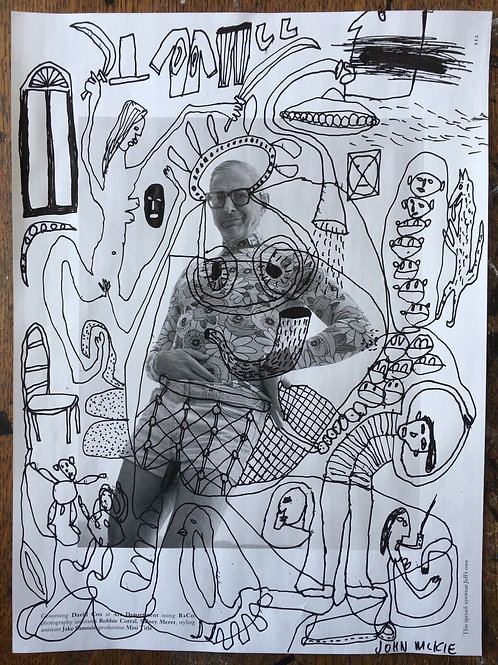 Original art drawing. John McKie 2019 Outsider Art. Paint pen on magazine page.