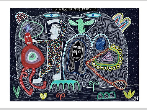 A Walk In The Park.  A3 Giclee Print.