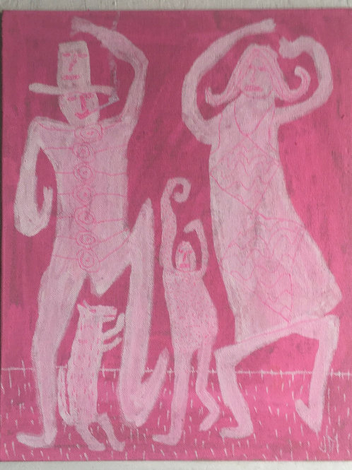 Dancing Family. 12.3 x 8.75 inches.