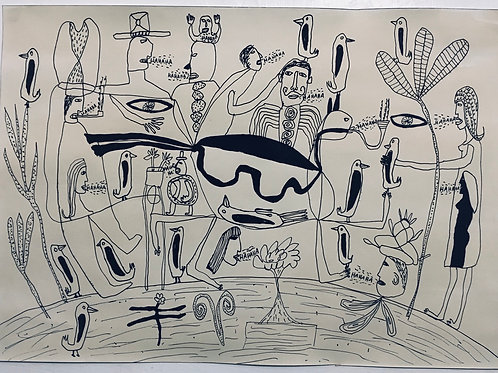 Birds and people laughing. 16.5 x 11.7 inches.