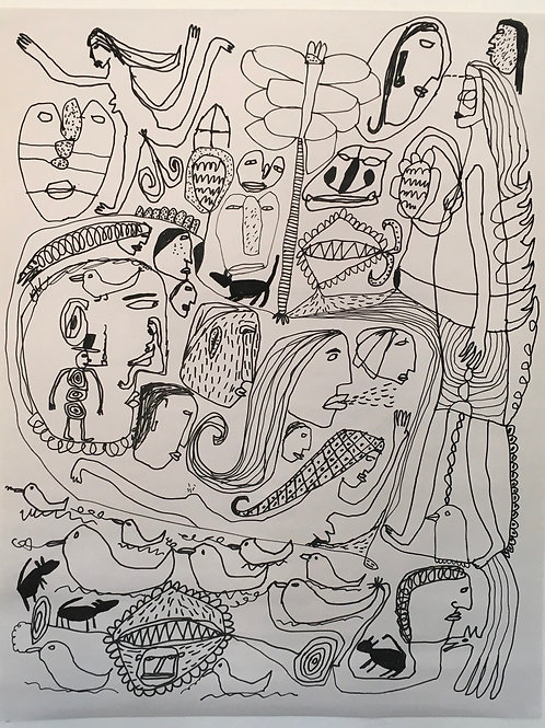 Ducks And People And Creatures. 29.5 x 23.5 inches.