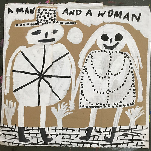 A Man And A Woman. 14.5 x 14.25 inches.