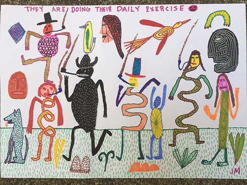 They Are Doing Their Daily Exercise. 16.5 x 11.7 inches.