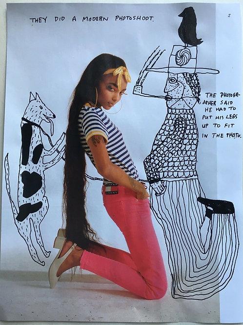 Original art drawing. John McKie 2019 Outsider Art. Paint pen on magazine page.