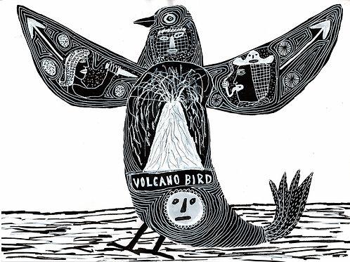 Volcano Bird.  A3 Giclee Print.