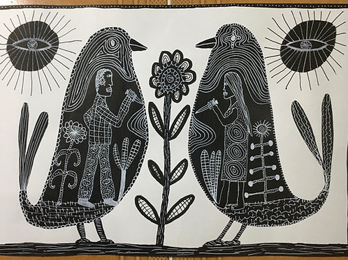 Man And Woman With Daggers. 16.5 x 11.75 inches.