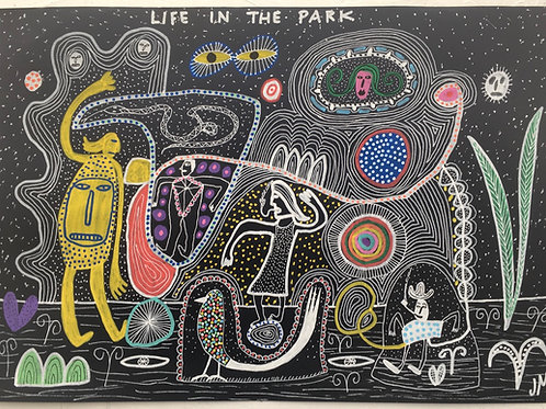 Life In The Park. 16.5 x 11.7 inches.