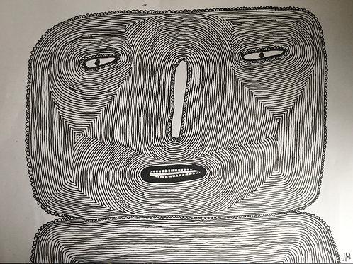 Man's Head. 22.5 x 16.5 inches.