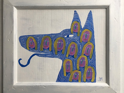 Dog With Girls Faces. 15.2 x 13.2 inches.