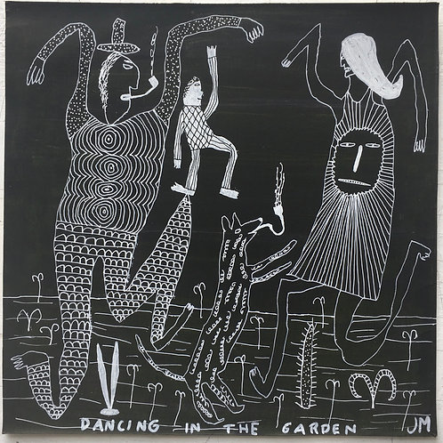 Dancing In The Garden. 12.5 x 12.5 inches.