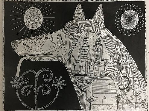 Dog With Men, Women And Daggers. 16 x 12.5 inches.