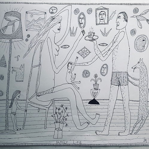 Family Life. 18.5 x 16.5 inches.