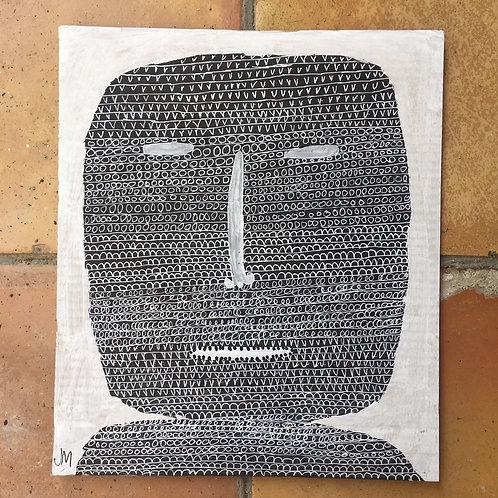 "Man's Head. 13.5"" x 11.5""."