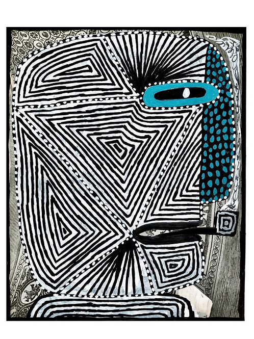Spotty Nose And Pipe.  A3 Giclee Print.