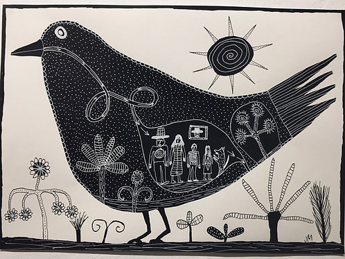 Bird with family. 16.5 x 11.75 inches.