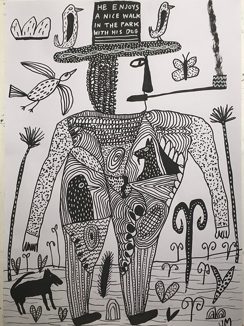 Man And Dog. 23 x 16.5 inches.