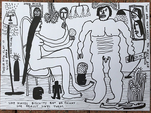 Original art drawing. John McKie 2019 Outsider Art. Paint pen drawing on paper.