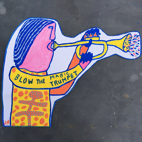 BLOW THE MAGIC TRUMPET. 21.5 x 16.5 inches.