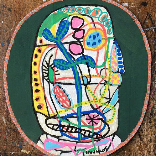 Original art drawing. John McKie 2019 Outsider art On Recycled Card