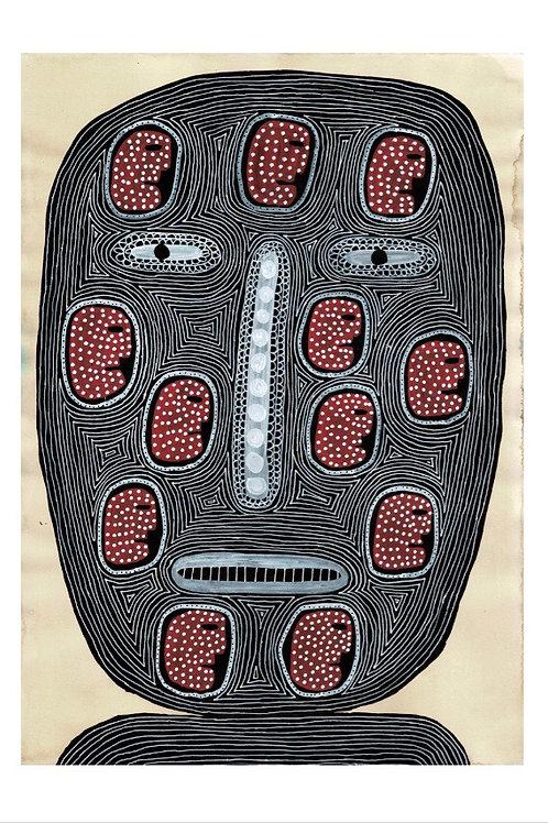 Man's Head.  A3 Giclee Print.