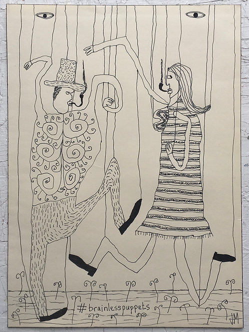 Pull The Strings And Make Them Dance. 13.5 x 9.8 inches.