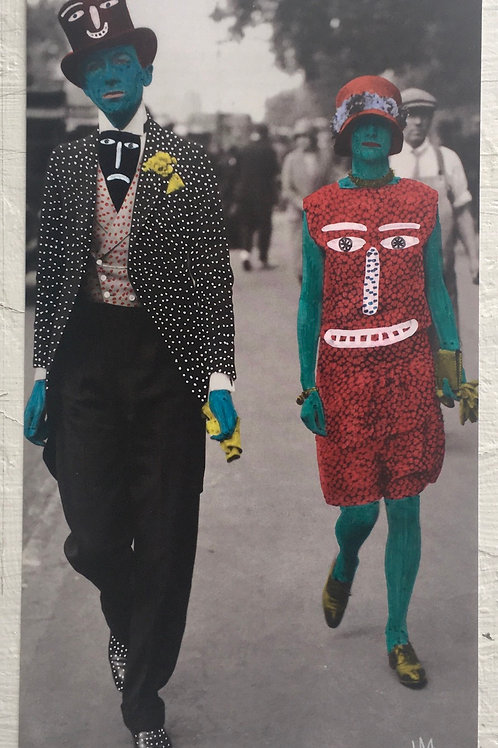 Fashionable Couple. 11.25 x 6.25 inches.