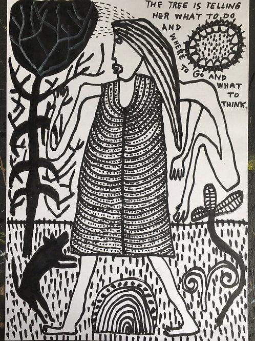 Original art drawing. John McKie 2019 Outsider Art. Oil pen on paper.