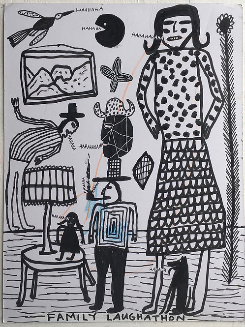 Family Laughathon. 16 x 12 inches.