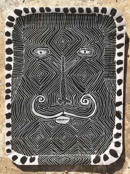 Man With Moustache. 10 x 8 inches.