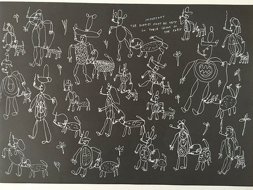 Dogs On Leads. 18.75 x 13.25 inches.
