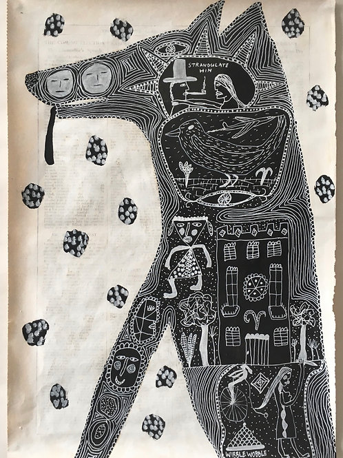 Dog. 17.4 x 12.25 inches.