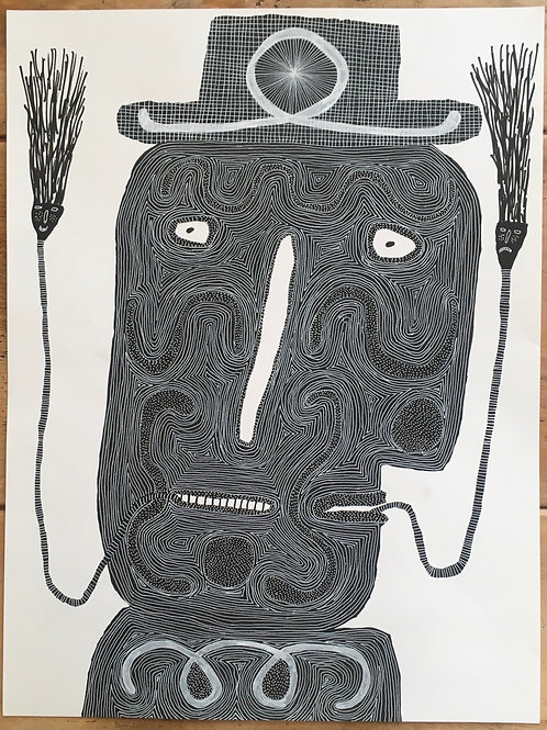 A Man With A Pipe. 22 x 16.5 inches.