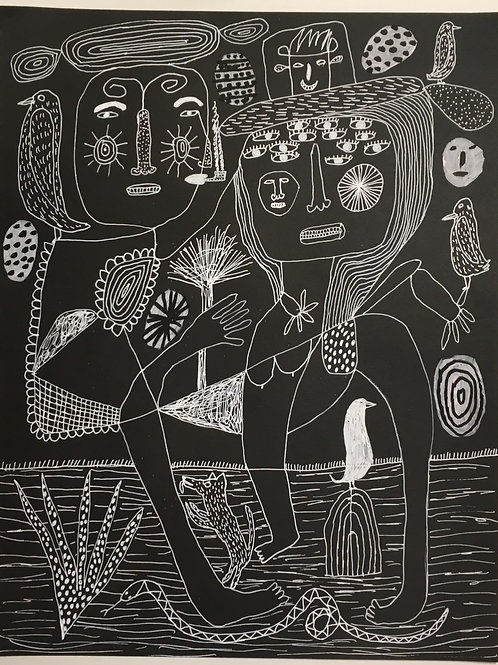 "Man and woman and animals. 15"" x 11.5""."