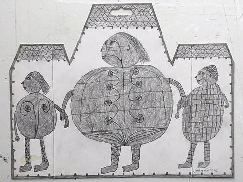 John McKie 2016 Outsider Art Drawing On Cardboard