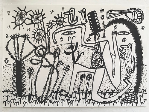 Man With Animals. 23.5 x 16.5 inches.