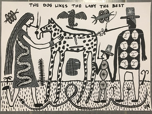 The Dog Likes The Lady The Best. 25.5 x 11.25 inches .