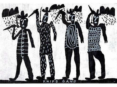 Knife Gang.  A3 Giclee Print.