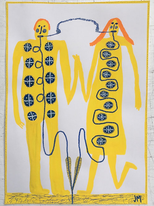 Man And Woman With Pipes And Tubes. 16.5 x 11.7 inches.