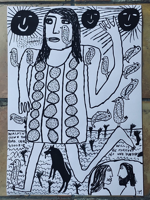 """Waving  Woman  And Birds. 23.5"""" x 16.5""""."""