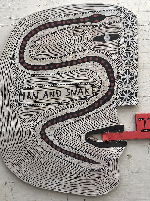Man And Snake. 12.5 x 10.5 inches.