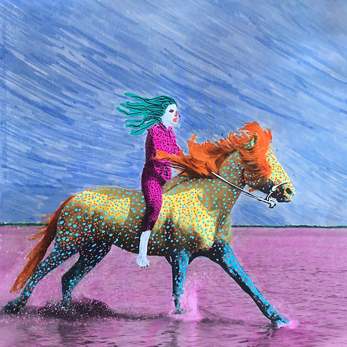 Boy on horse. 8.25 x 8.25 inches.