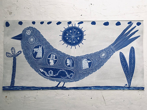 Bird And Other Animals. 24.5 x 12 inches.