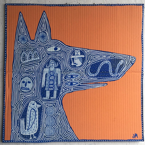 Dog. 15.3 x 15.3 inches.