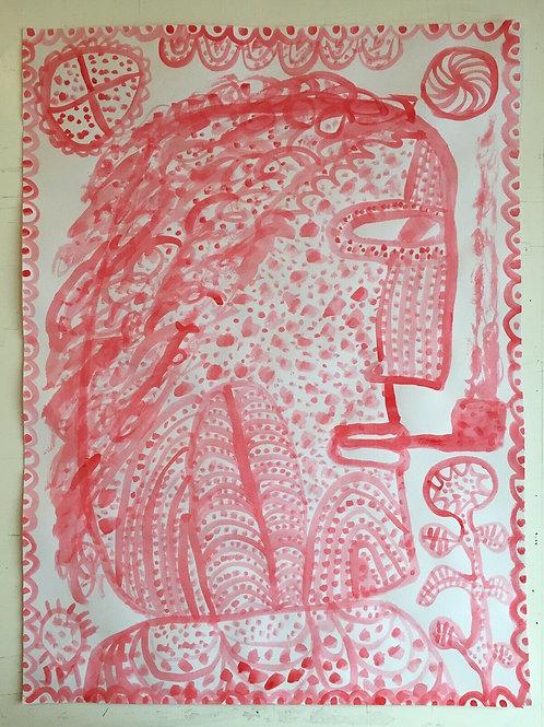 Original art drawing. John McKie 2019 Outsider Art. Gouache drawing on paper.