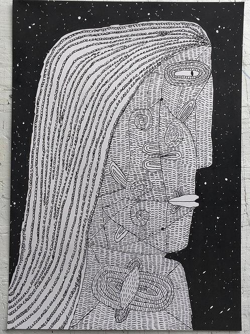 Lady Walking At Midnight. 16.5 x 11.7.