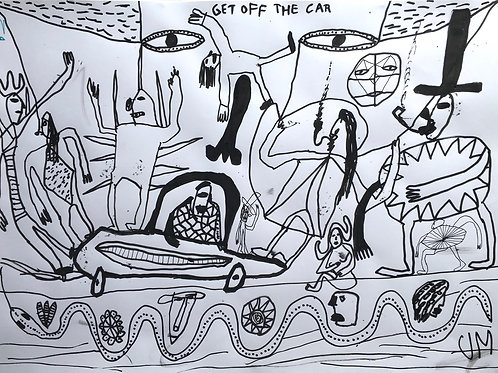 Get Off The Car. 23 x 16.5 inches.