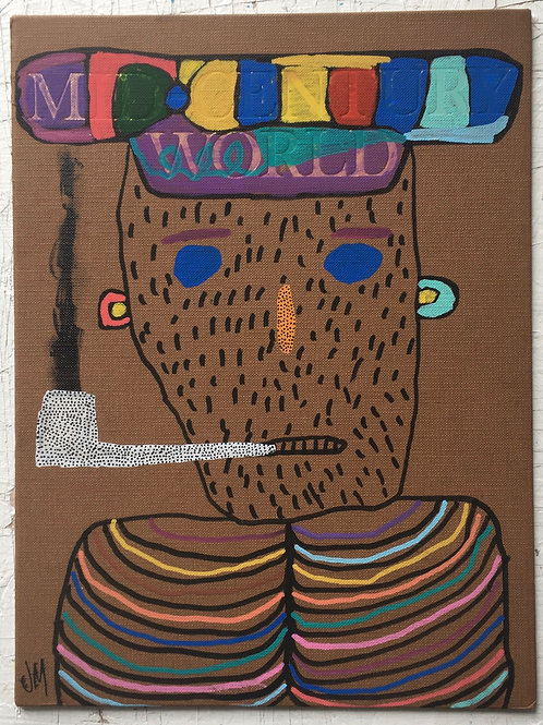 Man With Spotty Pipe. 11.5 x 8.7 inches.