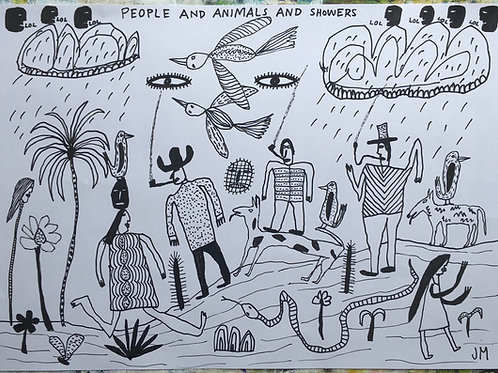 People And Animals And Showers. 23 x 16.5 inches.